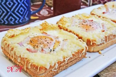 Хлеб с беконом и сыром в духовке