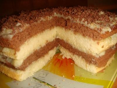 Торт ДомашнийНеобходимо 2 яйца, 200 грамм сахара, 200 грамм сметаны