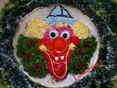 Весёлый клоун. далее.  Украшение салатов для детских праздников!