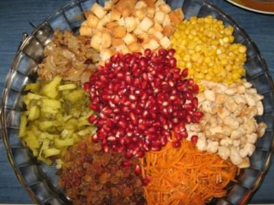 Салат горками с сухариками рецепт с