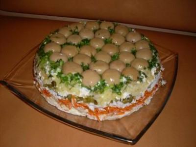 Грибная поляна рецепт с корейской морковкой