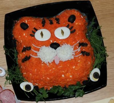 Как сделать, оформить салат в виде тигра, тигренка?