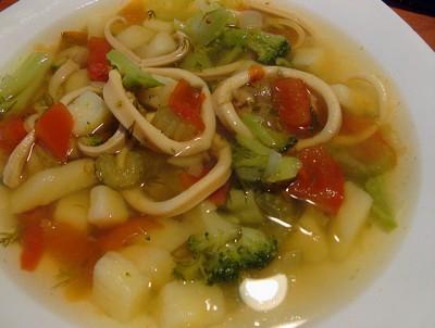 рецепт супа с кальмара