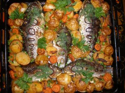 Запеченные овощи с рыбой в духовке рецепты 105