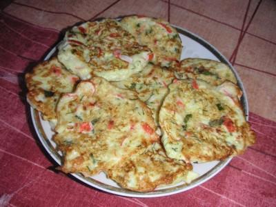 оладьи из кабачков с крабовыми палочками рецепт с фото