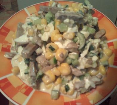 Салат с печенью и грибами рецепт с фото