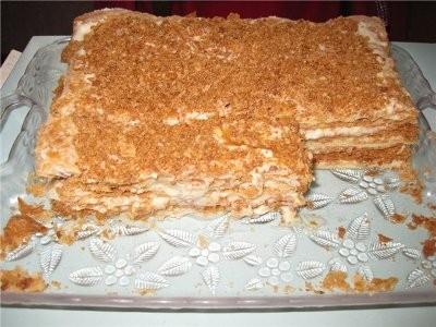 Торт наполеон с кремом из сметаны и сгущенки