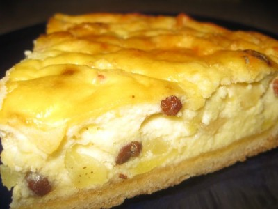 Рецепт песочного торта с фруктами и творогом