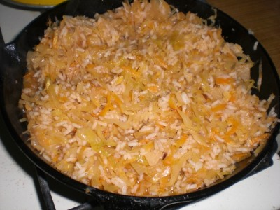 тушеная капуста с рисом и мясом рецепт с фото