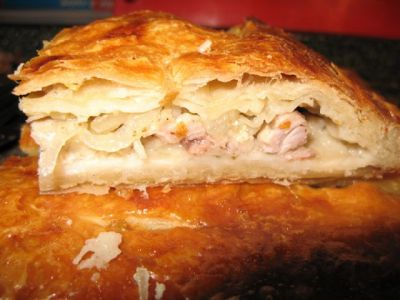 курник рецепт с курицей из слоеного теста с фото