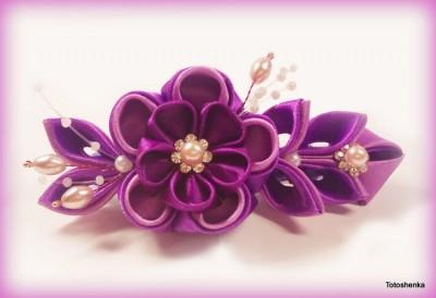 мастер класс цветы из ткани и атласных лент.