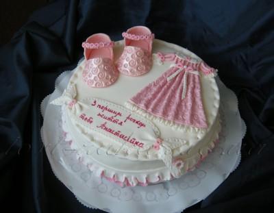 Торт на годик для девочки.  Вес 3 кг.