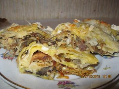 тонкий лаваш рецепт с курицей и грибами в духовке