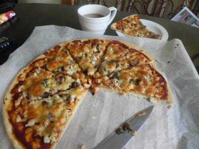 Рецепт пиццы с курой и грибами 4