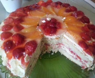 фруктовый торт с кремом рецепт