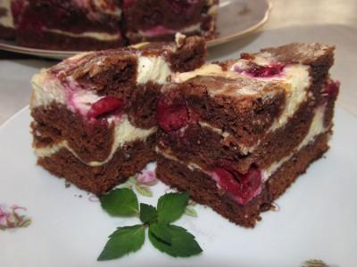 Брауни рецепт с творогом и вишней