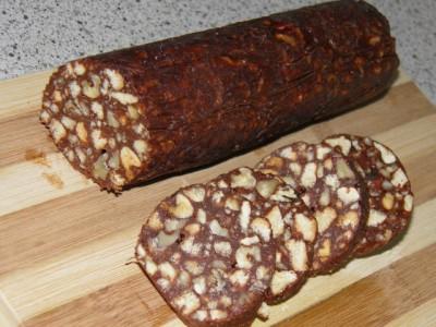 Рецепт шоколадной колбасы с изюмом — 8