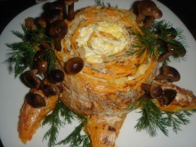салат грибные пенечки с пошаговым рецептом