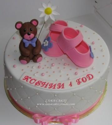 Торт на годик девочке из мастики фото