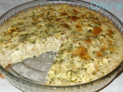 Запеканка из риса с рыбой