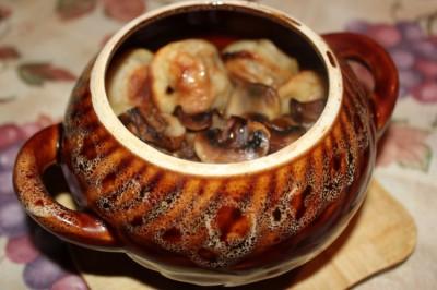 Рецепты в горшочках с шампиньонами