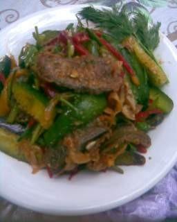салат с баклажанами огурцами рецепт с фото