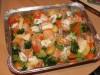 Семга с овощами и камамбером