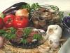 Бакложаны слоями с болгарским перчиком или помидорами