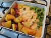 Минтай под соусом с овощным гарниром